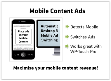 Supports Ad Placement in WordPress Mobile Plugins